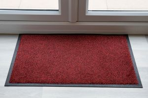 Black Red Speckle Luxury Throw Down Entrance Mat Various Sizes