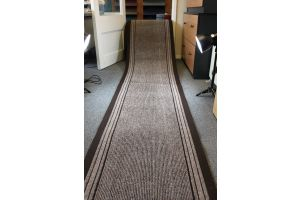Beige Long Hallway Entrance Runner Mat Striped 67cm Wide