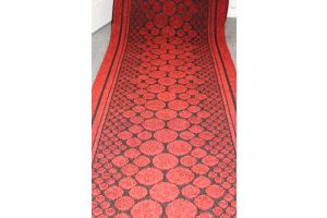 Long Hallway Entrance Runner Mat Red Stones Fire